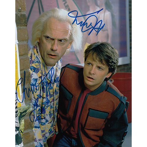 """Michael J. Fox & Christopher Lloyd Autographed 8""""x10"""" (Back to the Future)"""