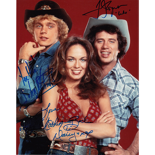 """Catherine Bach, Tom Wopat and John Schneider Autographed 8""""x10"""" (Dukes of Hazzard)"""